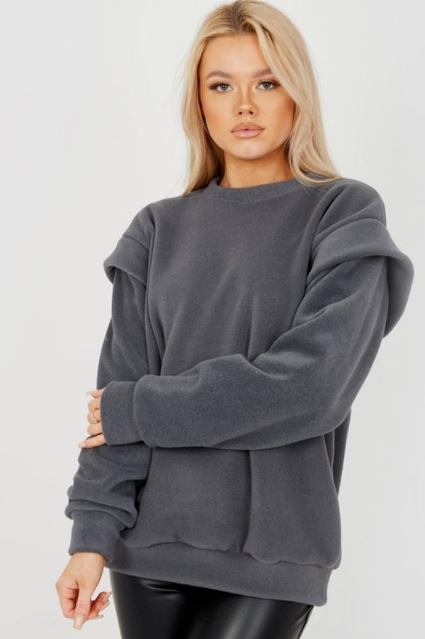 Thick Fleece Sweatshirt - charcoal - 2