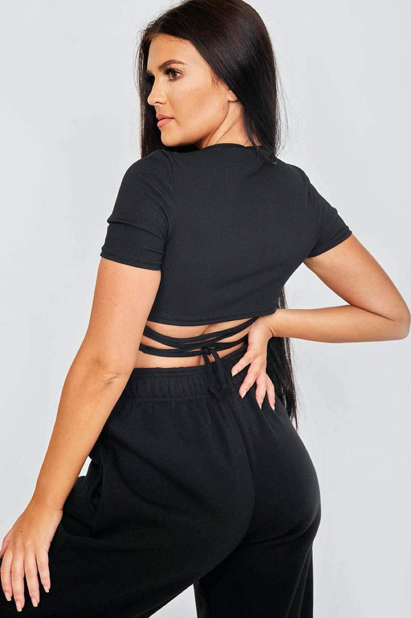 Tie Back Forever Print Rib Crop Top - Black -2