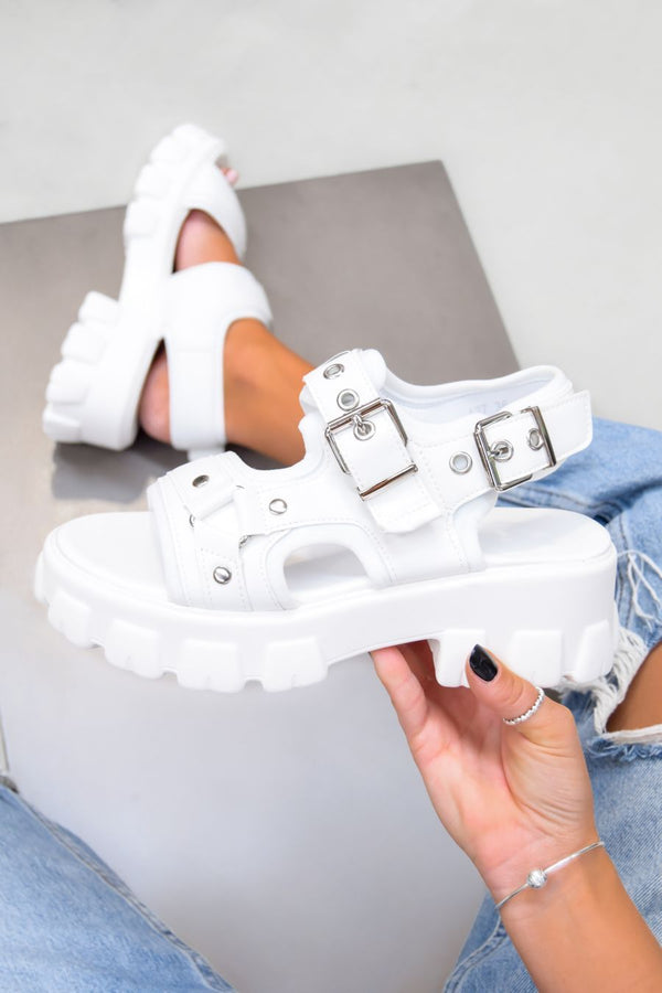 UNITY Chunky Buckle Sandals - White PU