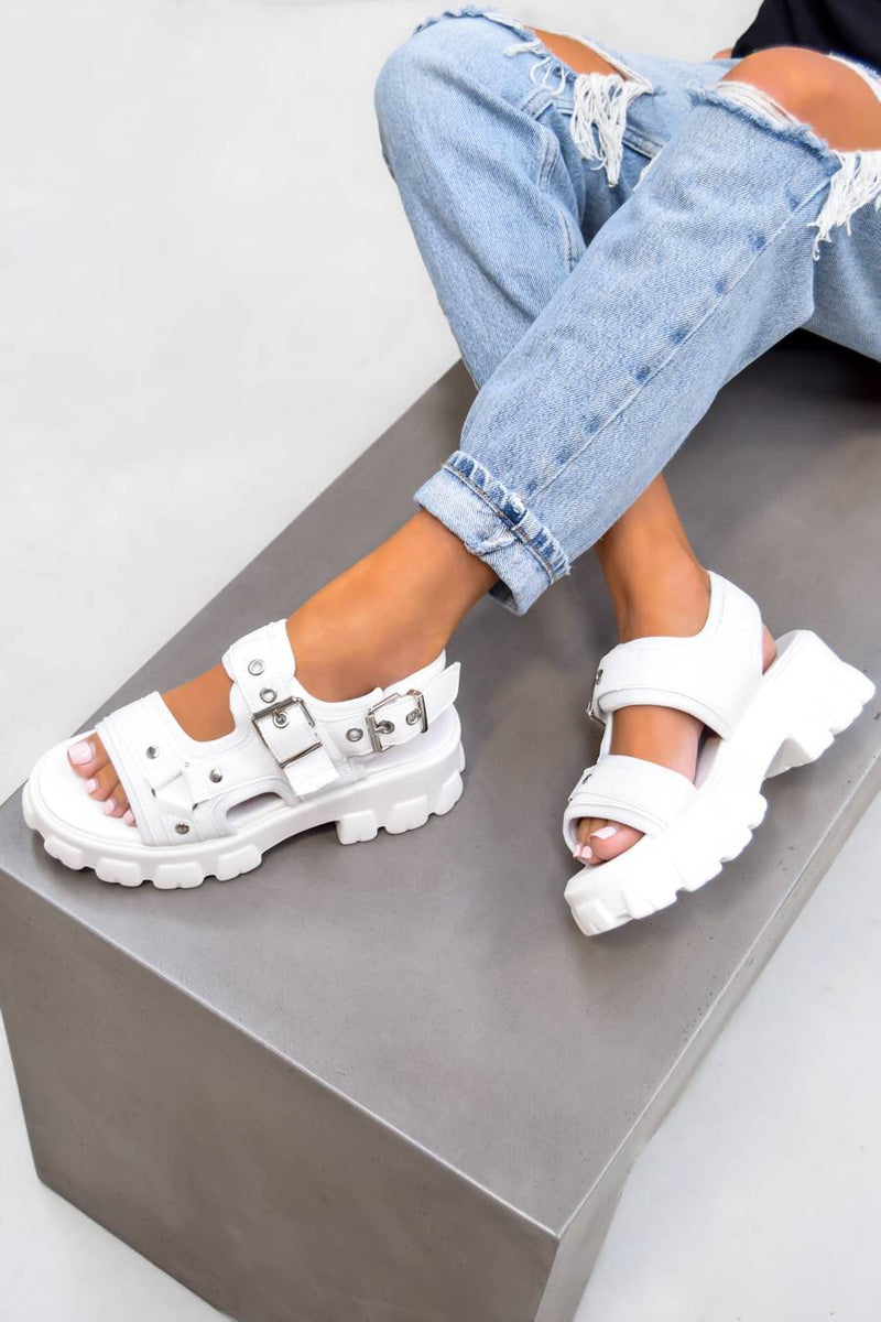 UNITY Chunky Buckle Sandals - White PU - 1