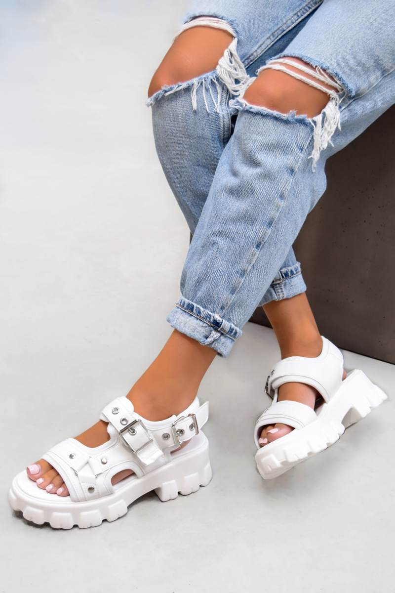 UNITY Chunky Buckle Sandals - White PU - 2
