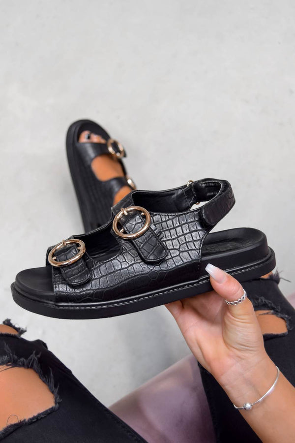 VACATE Chunky Ring Buckle Sandals - Black Croc