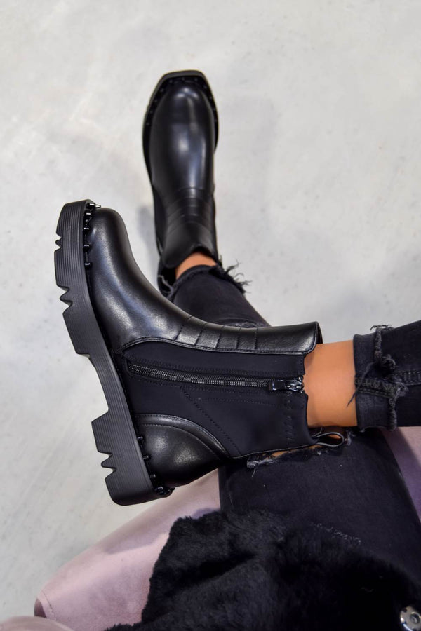VALERIA Studded Square Front Panelled Ankle Boots - Black PU - 1