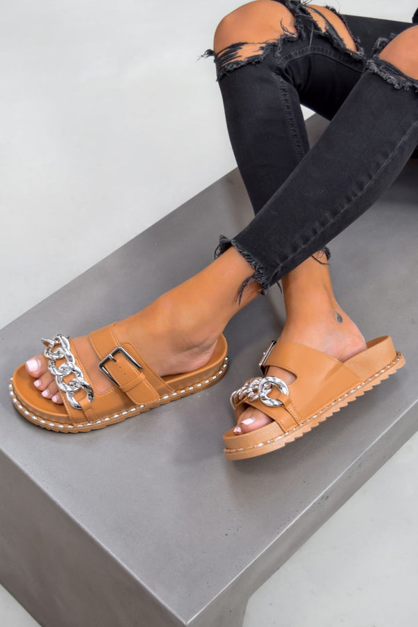 VEGAS Chunky Chain Buckle Sandals - Camel/Silver - 1