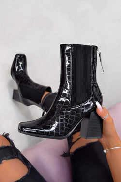 VELA Heeled Ankle Boots - Black Croc