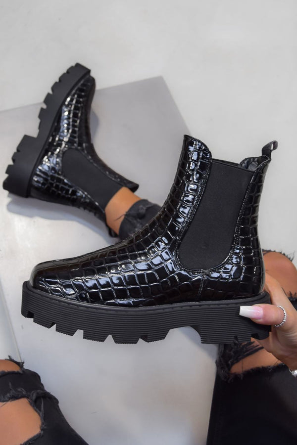 VENUS Chunky Chelsea Ankle Boots - Black Croc