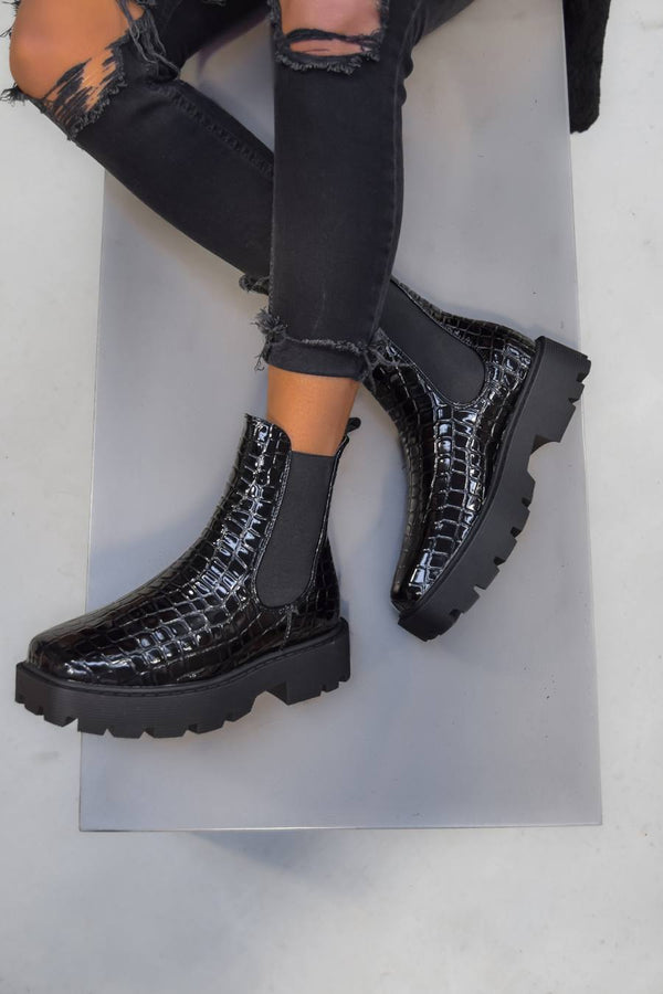 VENUS Chunky Chelsea Ankle Boots - Black Croc - 1