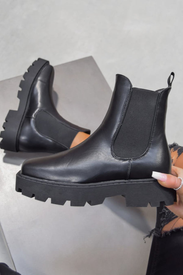 VENUS Chunky Chelsea Ankle Boots - Black PU