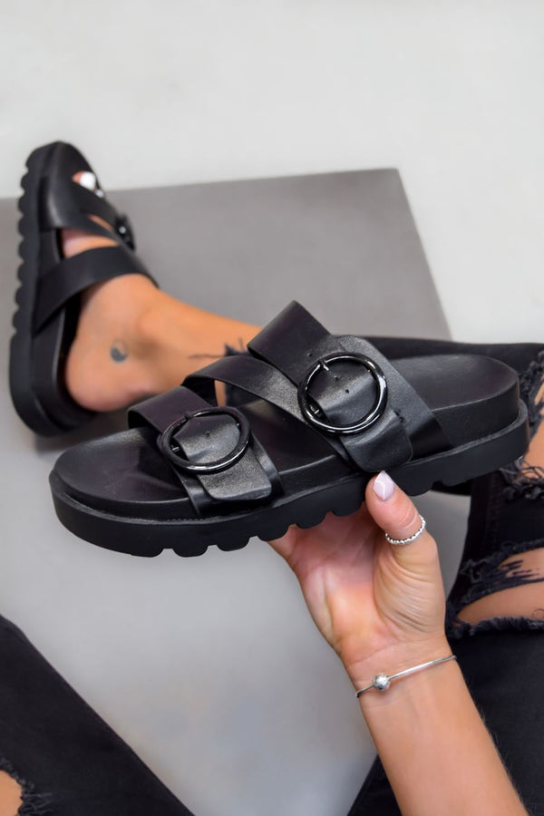 VIOLETA Chunky Buckle Sandals - Black