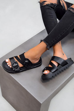 VIOLETA Chunky Buckle Sandals - Black - 1