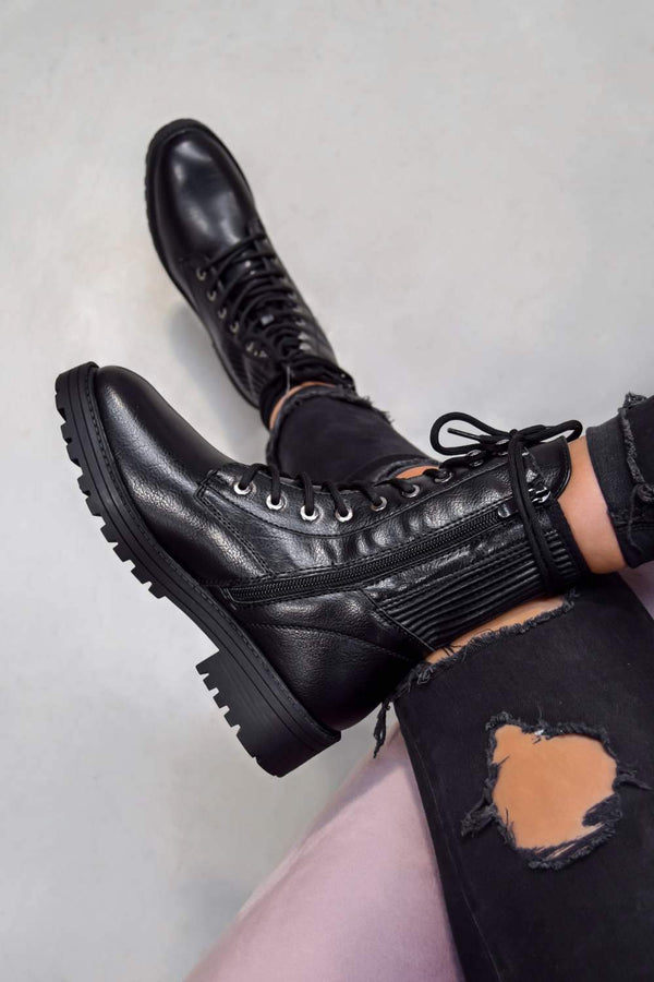 VIXON Lace Up Biker Ankle Boots - Black PU - 1