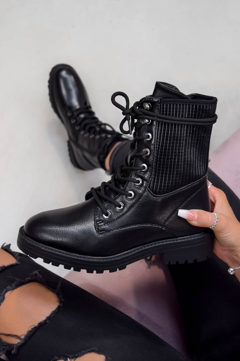 VIXON Lace Up Biker Ankle Boots - Black PU