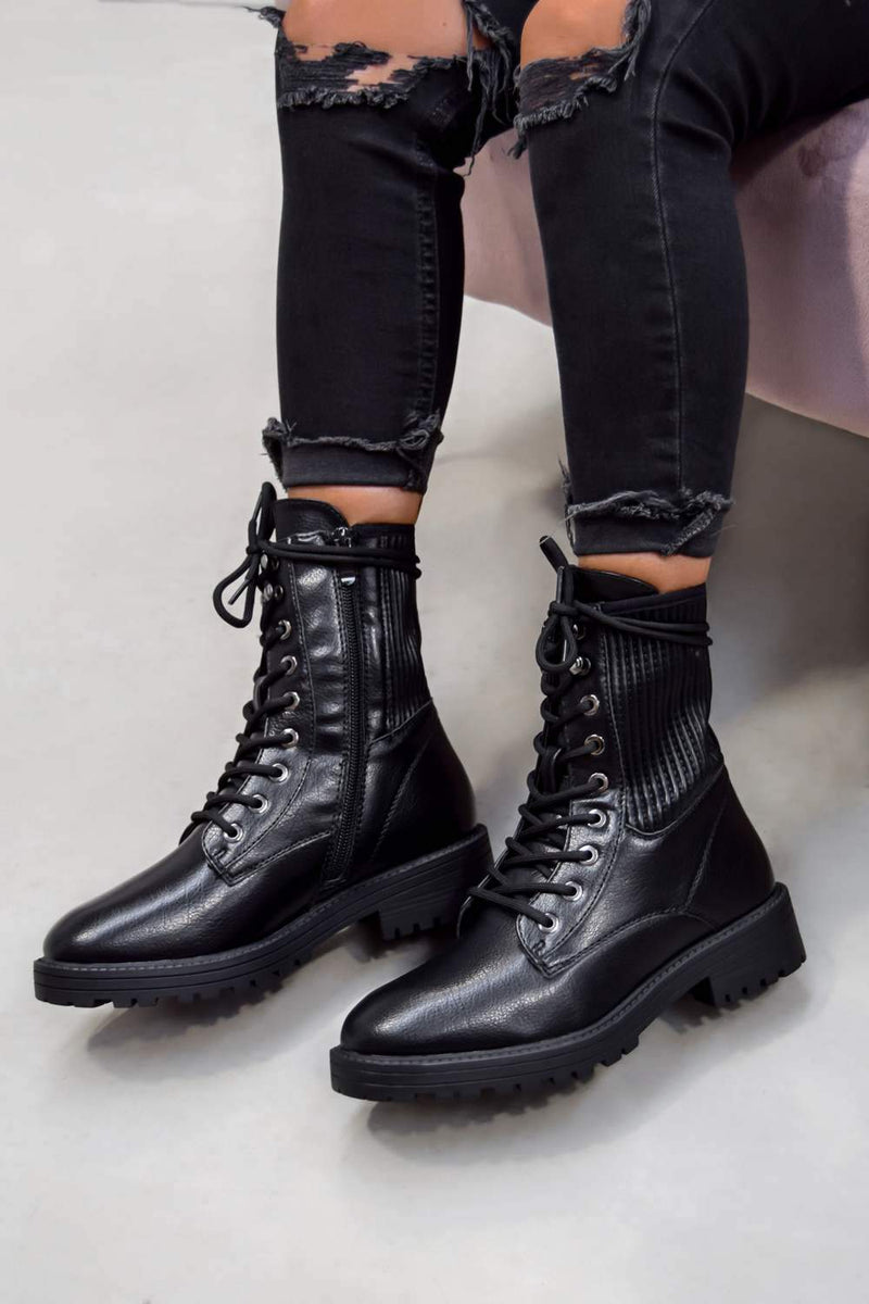 VIXON Lace Up Biker Ankle Boots - Black PU - 2