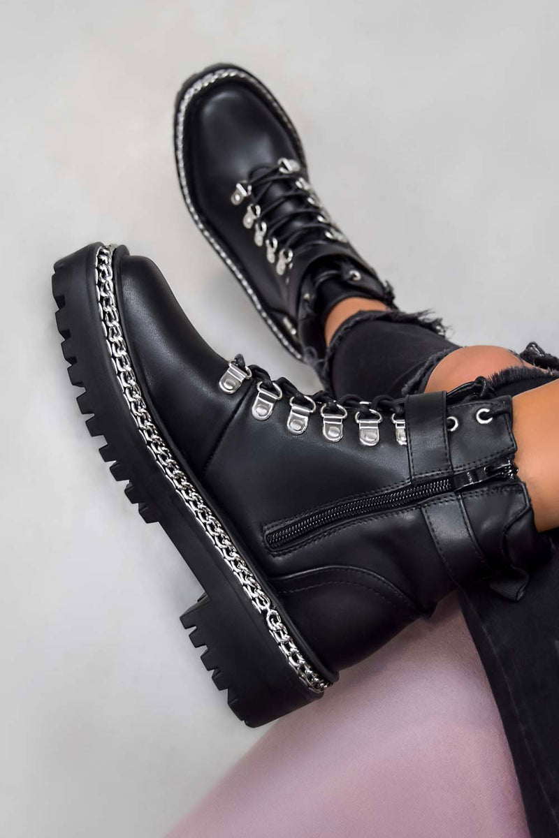 WALK THIS WAY Chain Lace Up Ankle Boots - Black PU - 2