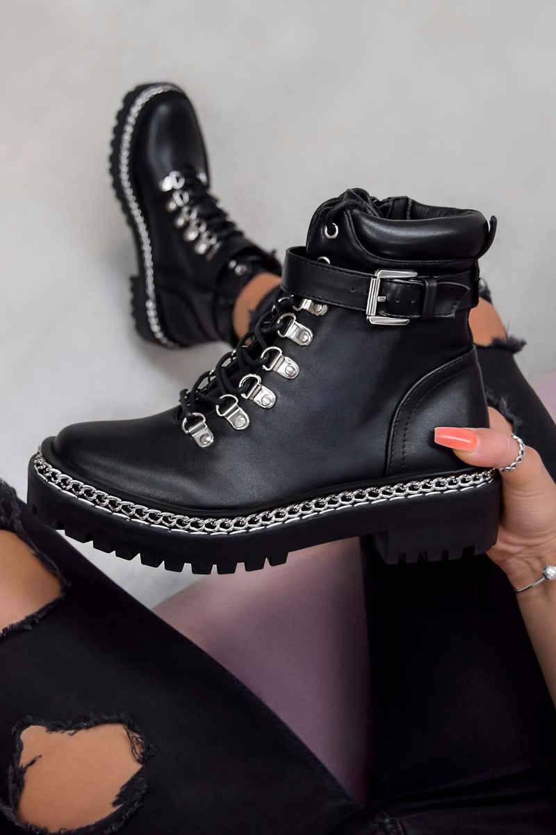 WALK THIS WAY Chain Lace Up Ankle Boots - Black PU
