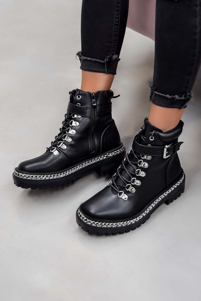 WALK THIS WAY Chain Lace Up Ankle Boots - Black PU - 1