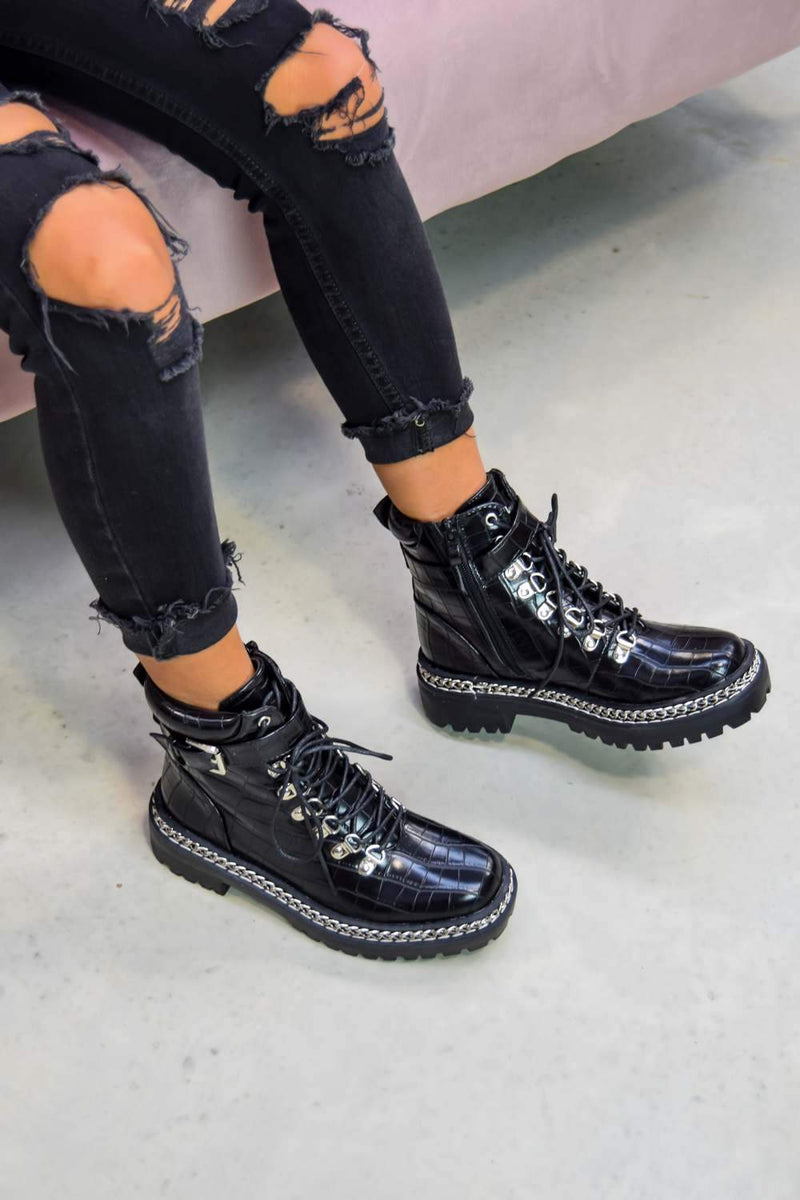 WALK THIS WAY Chain Lace Up Ankle Boots - Black Croc - 2