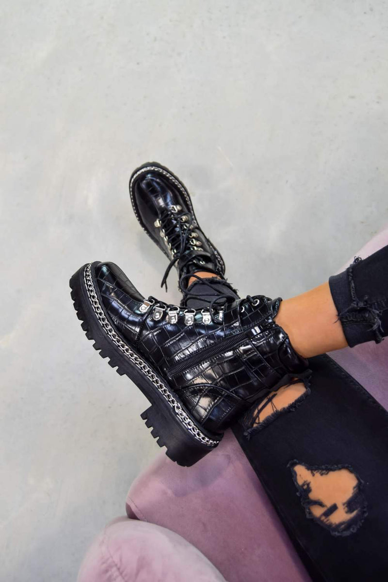 WALK THIS WAY Chain Lace Up Ankle Boots - Black Croc - 1