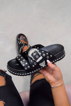 WHO KNEW Chunky Studded Western Buckle Sandals - Black/Silver