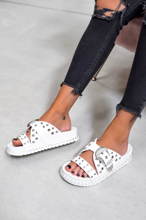 WHO KNEW Chunky Studded Western Buckle Sandals - White/Silver - 1