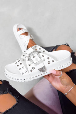 WHO KNEW Chunky Studded Western Buckle Sandals - White/Silver