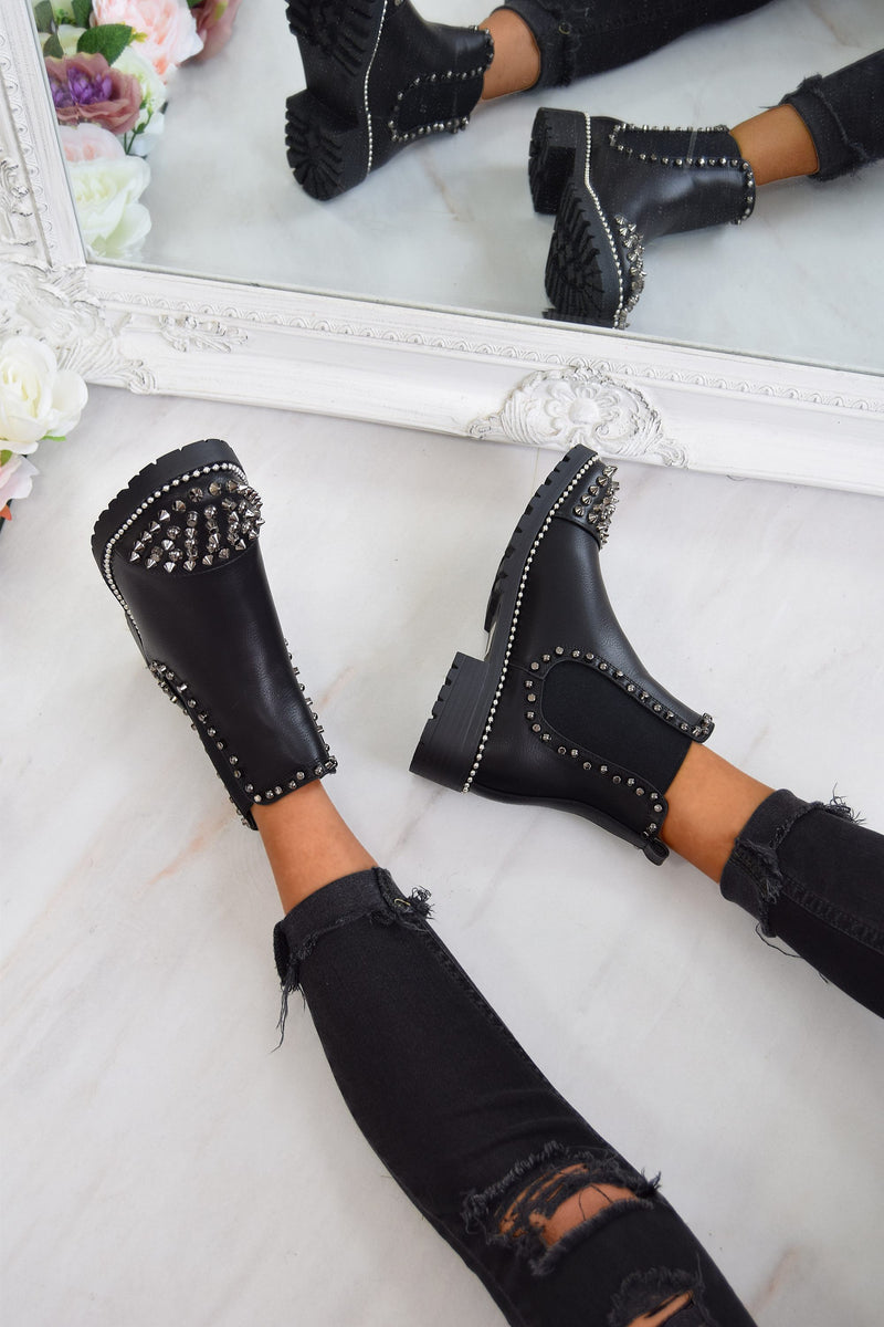 WILLOW Spike Studded Chelsea Ankle Boots - Black/Silver - 2