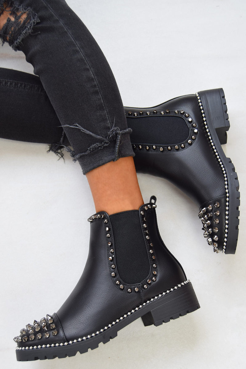 WILLOW Spike Studded Chelsea Ankle Boots - Black/Silver - 1