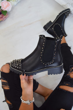 WILLOW Spike Studded Chelsea Ankle Boots - Black/Silver - 3