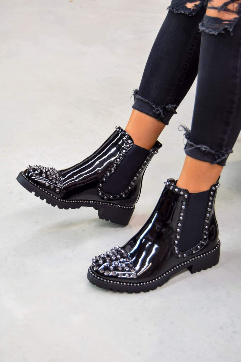 WILLOW Spike Studded Chelsea Ankle Boots - Patent - 3