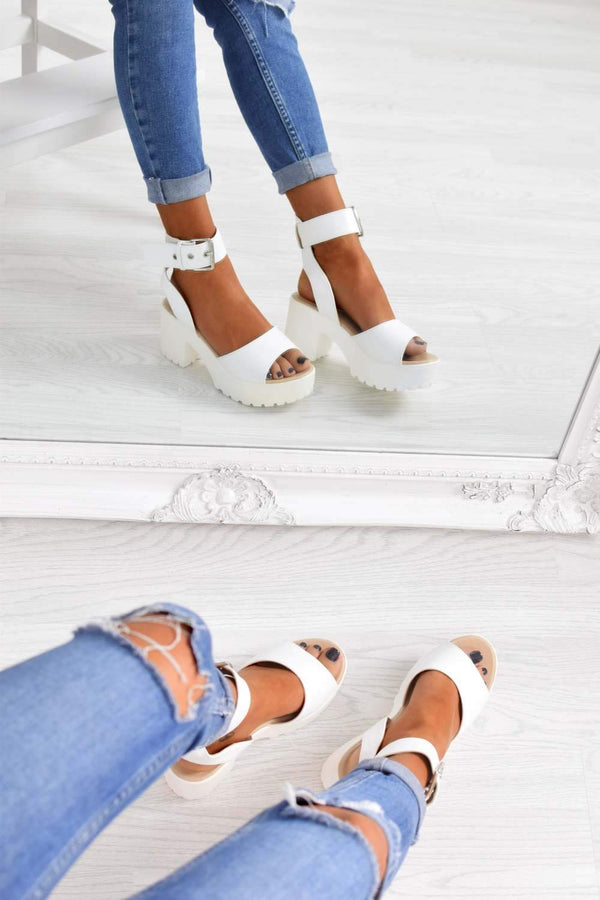 Women's White Chunky Platform Sandals - PU - 1