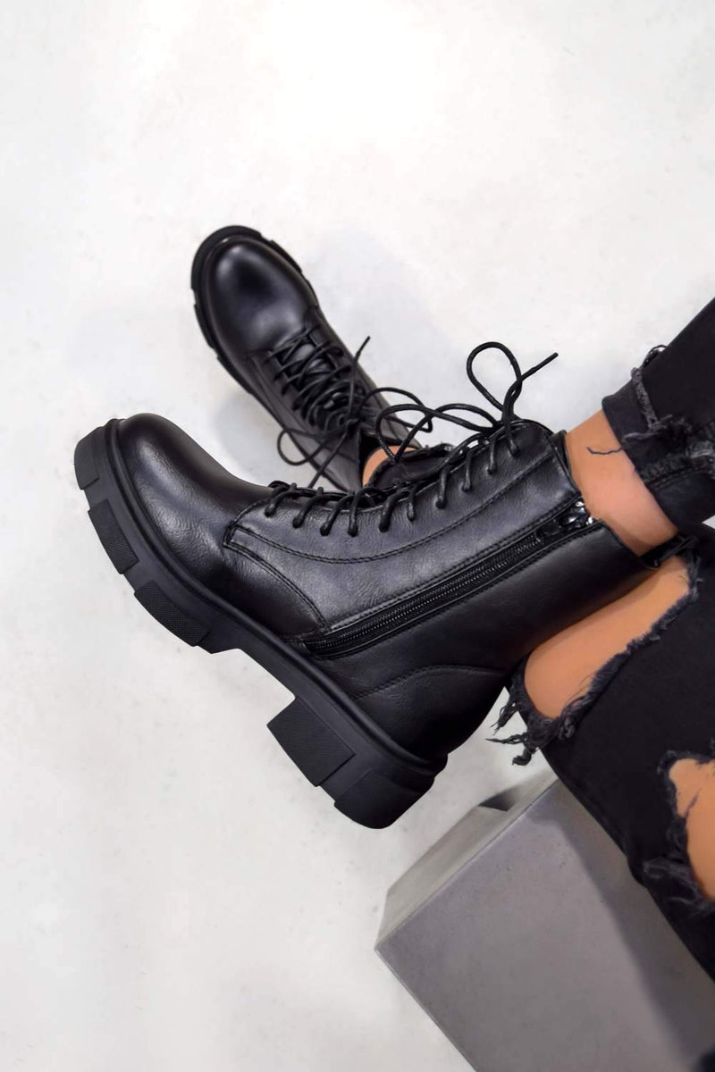 XENIA Chunky Lace Up Ankle Boots - Black - 2