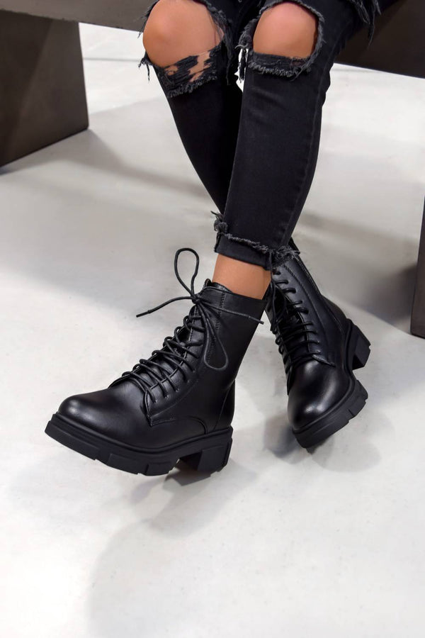 XENIA Chunky Lace Up Ankle Boots - Black - 1