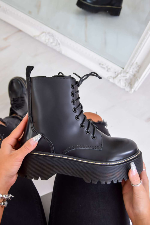 YOU KNOW Chunky Platform Lace Up Ankle Boots - Black