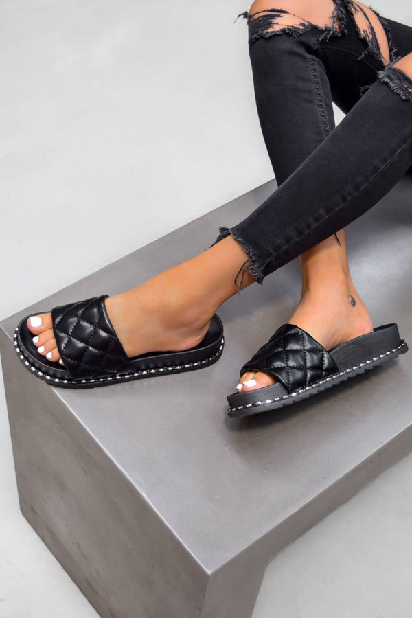 ZARITA Flat Studded Sliders - Black - 1