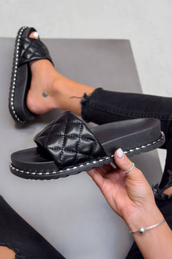 ZARITA Flat Studded Sliders - Black