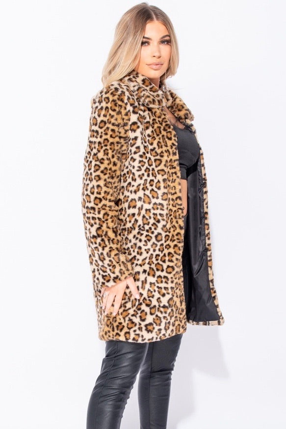 RHIAN Leopard Faux Fur Edge To Edge Mid Length Jacket