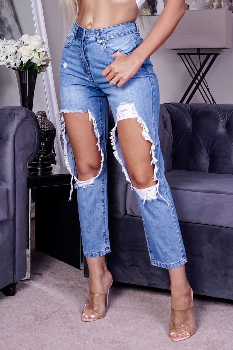 BRI Extreme Distressed High Waist Boyfriend Jeans - Mid Blue - 1