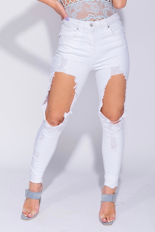 SAVANNAH Extreme Rip Mid Rise Stretch Skinny Jeans - White 1