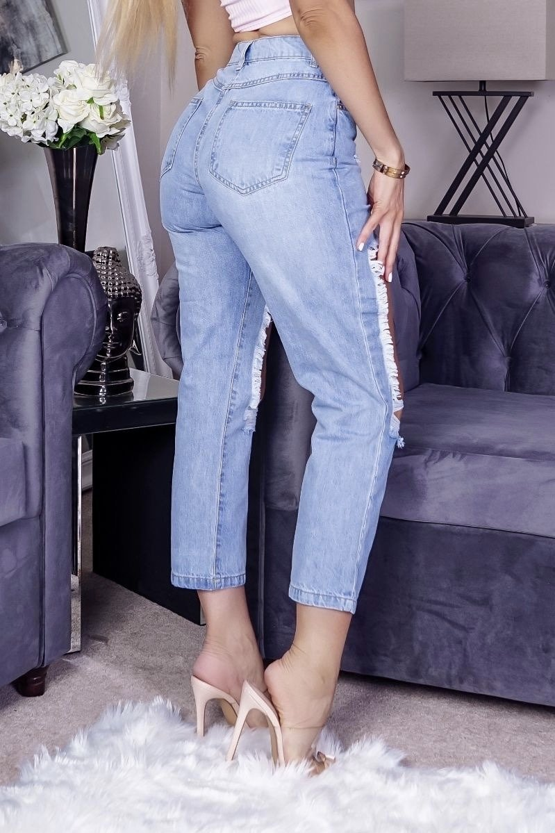 BRI Extreme Distressed High Waist Boyfriend Jeans - Light Blue
