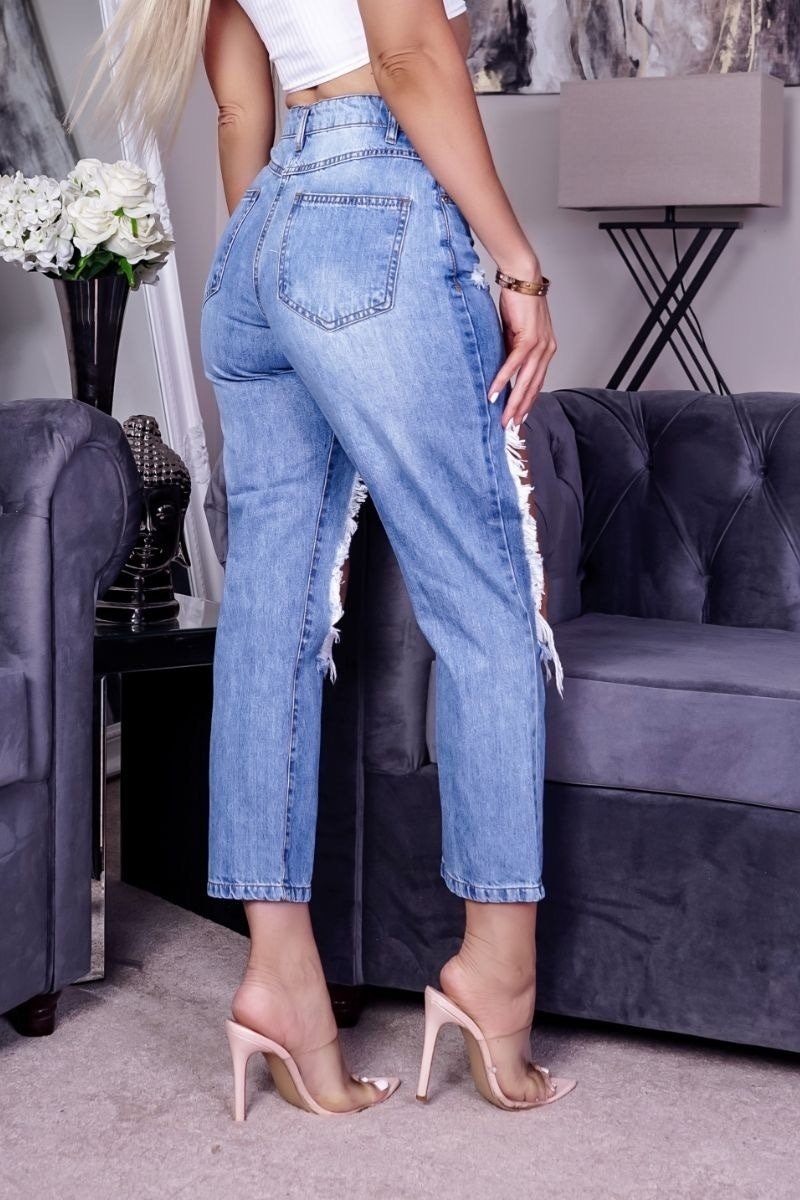 BRI Extreme Distressed High Waist Boyfriend Jeans - Mid Blue - 2