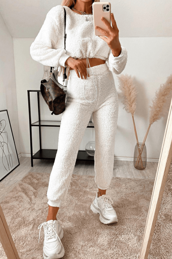 FRAN Teddy Borg Cropped Top & Jogger Lounge Set - Off White-1