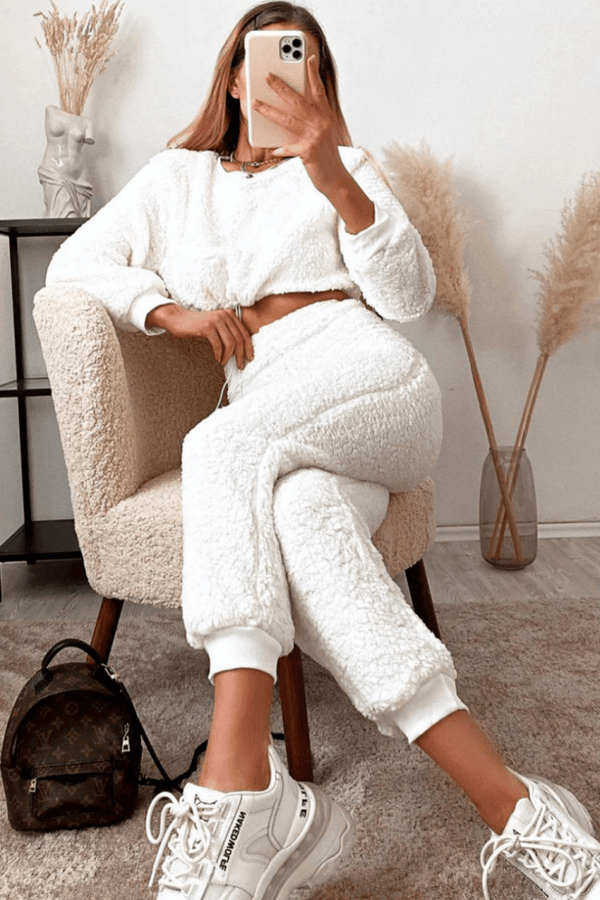 FRAN Teddy Borg Cropped Top & Jogger Lounge Set - Off White