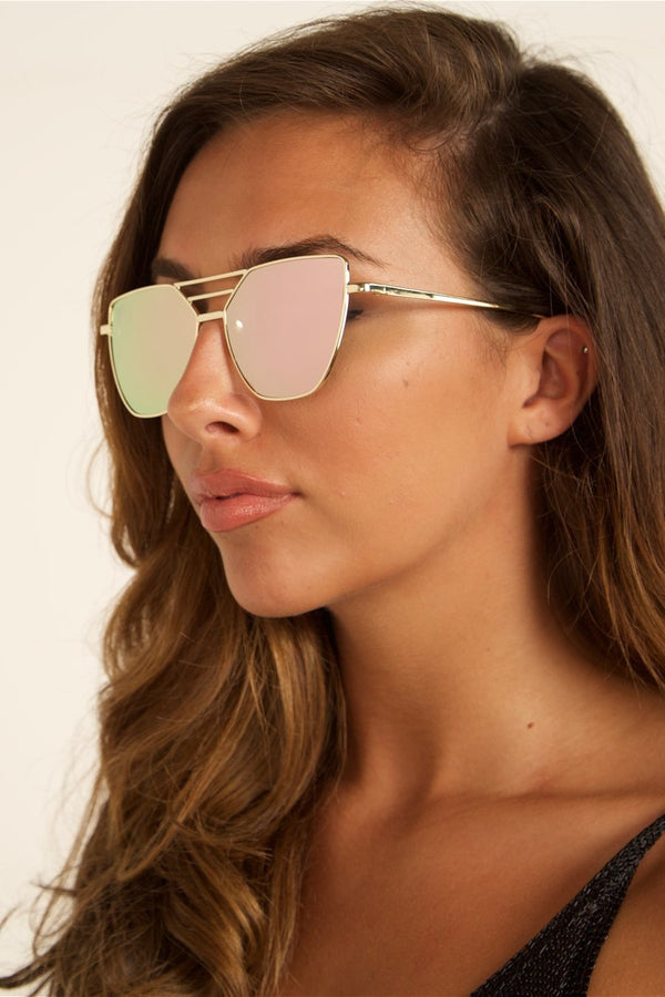 PARIS rose Tinted Gold Mirrored Sunglasses