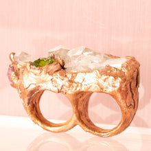 Load image into Gallery viewer, Awaken Clear Quartz Multi Finger Copper Ring (Size 5-7) - Awaken