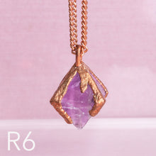 Load image into Gallery viewer, Purple Fluorite Octahedron Long Copper Necklace - Awaken
