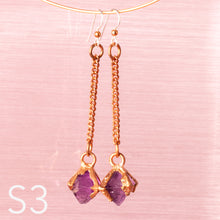 Load image into Gallery viewer, Purple Fluorite Octahedron Dangle Earrings - Awaken