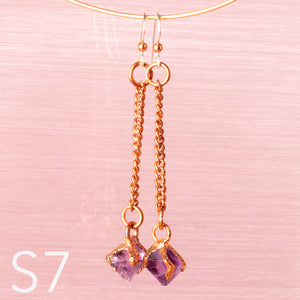 Purple Fluorite Octahedron Dangle Earrings - Awaken