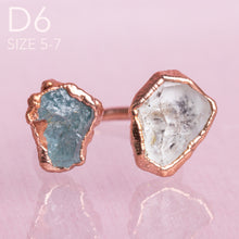 Load image into Gallery viewer, Herkimer Diamond/ Aquamarine Copper Adjustable Ring - Awaken