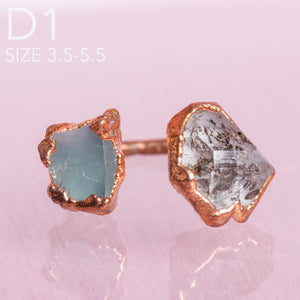 Herkimer Diamond/ Aquamarine Copper Adjustable Ring - Awaken