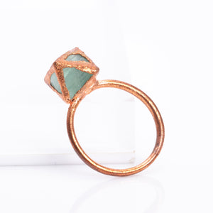 Fluorite Octahedron Raw Crystal Copper Ring